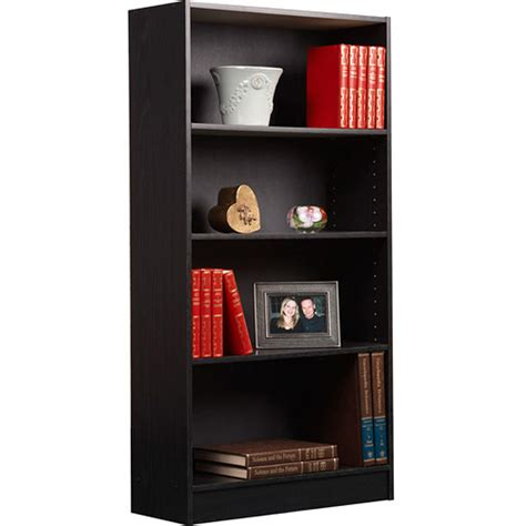 set of 2 bundle 4 shelf bookcase bookshelf wall black wood