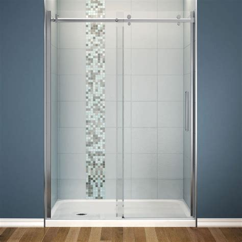 Maxx Shower Doors Maax Halo 30 In X 60 In X 81 3 4 In Frameless Shower Door With White Base Left Drain 105979