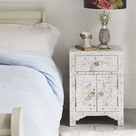side ls for bedroom classic of pearl inlay side table in white graham