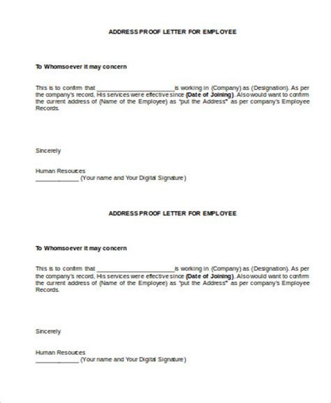 Address Proof Letter From Employer Sle Proof Of Employment 5 Exles In Word Pdf