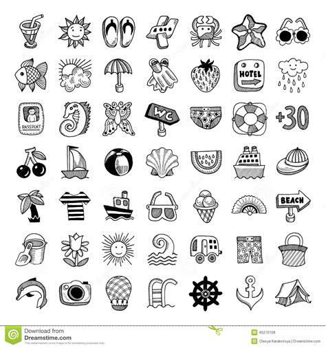 doodle draw icon pack apk sketch icon set of summer theme vector stock vector