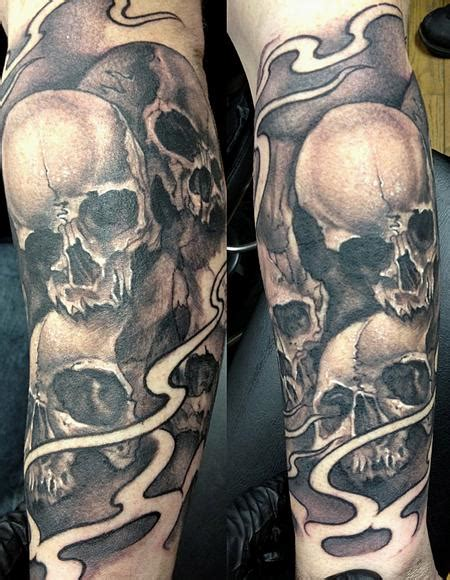 black and grey tattoo machine black and gray skull sleeve by mike boissoneault tattoos