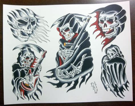 traditional grim reaper tattoo grim reapers traditional flash sheet