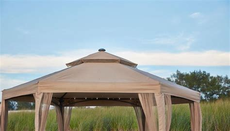 netting lights 10 x 10 outdoor gazebo canopy w mosquito netting