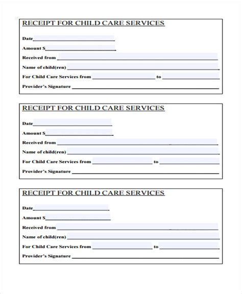 receipt for child care services template printable receipt forms 41 free documents in word pdf