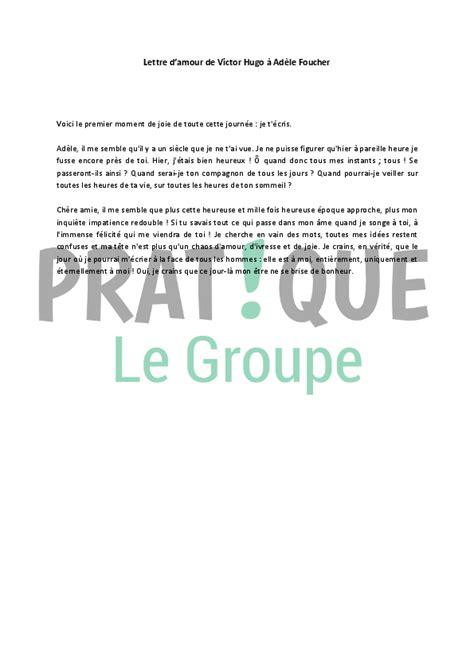 Exemple De Lettre Ouverte Victor Hugo Lettre D Amour De Victor Hugo 224 Ad 232 Le Foucher 2 Pratique Fr