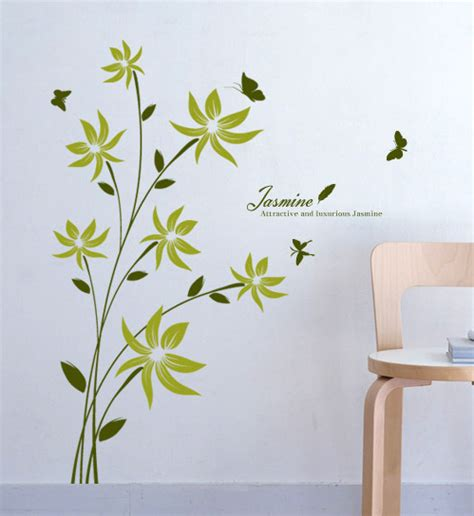 flower design on wall great flower wall decals home design 916