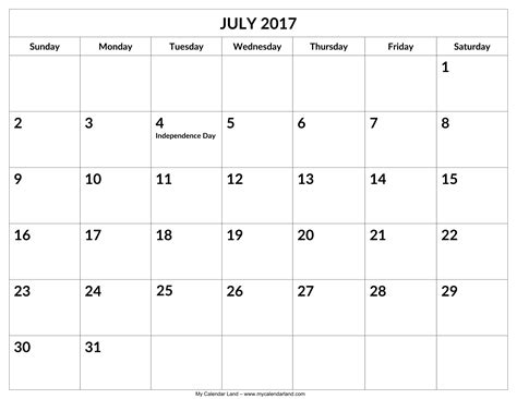 printable calendars july july 2017 calendar my calendar land