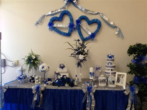 royal blue silver and white bows candle embellishments