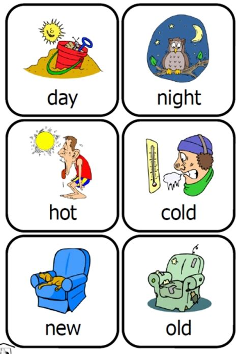 Printable Opposite Cards For Preschool | preschool home education resources