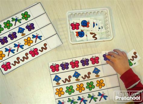 pattern centres for kindergarten spring centers identify and extend simple patterns