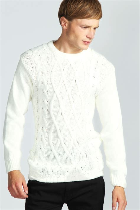 mens knitted jumpers boohoo mens cable knit jumper in ebay