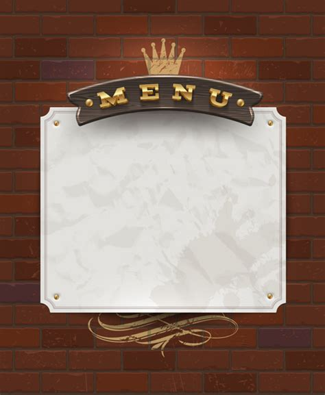 menu design label menu labels and brick wall design vector 02 vector label
