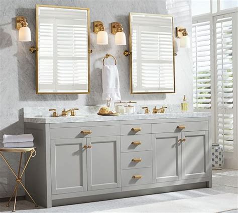 bathroom rectangular pivot mirrors pictures decorations light gray vanity with gold framed pivot mirrors for