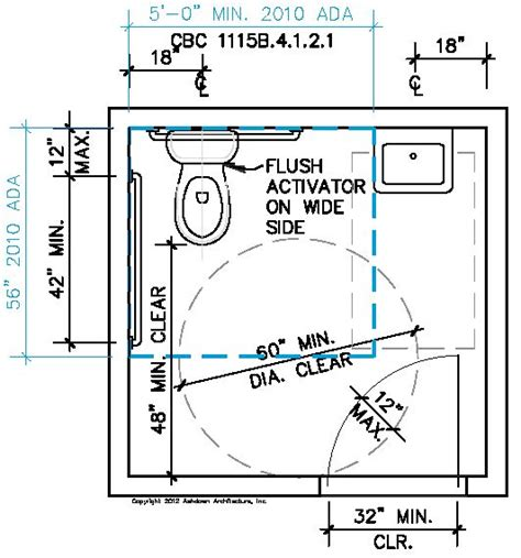 accessible bathroom layout single accomodation toilet california ada compliance