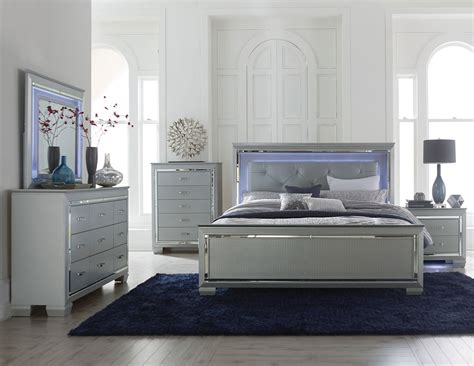 bed furniture sets homelegance allura bedroom set with led lighting silver