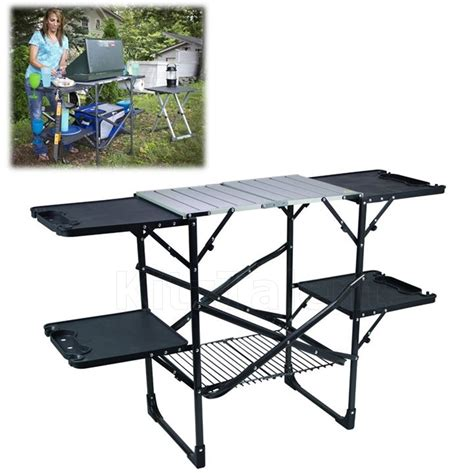 kitchen folding table cing kitchen cooking table station portable folding c outdoor picnic bbq ebay