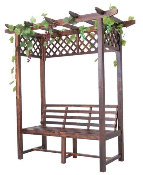 Kursi Potong Rambut Dari Kayu furnitur taman bunga kayu pergola dengan kursi panjang di