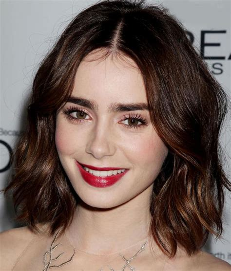 long bob haircut pale skin get the look lily collins glam makeup she said