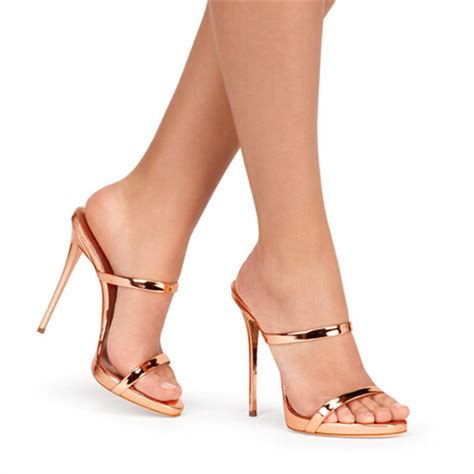 gold strappy sandal heels new two thin strappy sandals slipper high heels gold