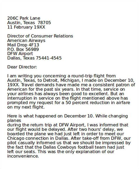 Customer Complaint Letter To Airline Complaint Letter Exle