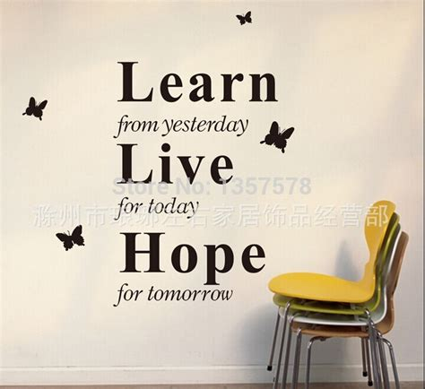 vinyl wall stickers quotes free shipping learn from yesterday creative wall sticker