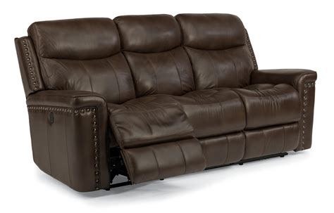 Top Grain Leather Power Reclining Sofa Top Grain Leather Match Power Reclining Sofa With Nail Trim By Flexsteel Wolf And