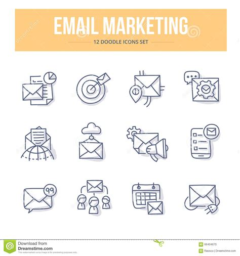 doodle 4 address e mail marketing doodle icons stock vector illustration