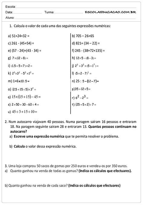 atividades de matematica 5 ano - Matemática
