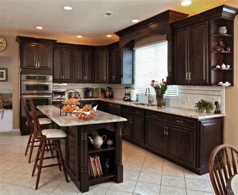 dark kitchen cabinets with dark countertops love this budget kitchen remodel with refaced dark