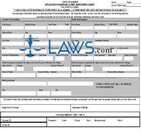Montgomery County Application Form Al Application For Marriage License Montgomery County
