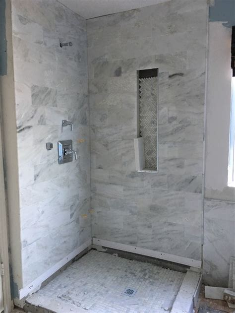 Carrara Marble Bathroom Designs Master Bathroom Remodel Mixing Carrara Marble And Wood Or Porcelain