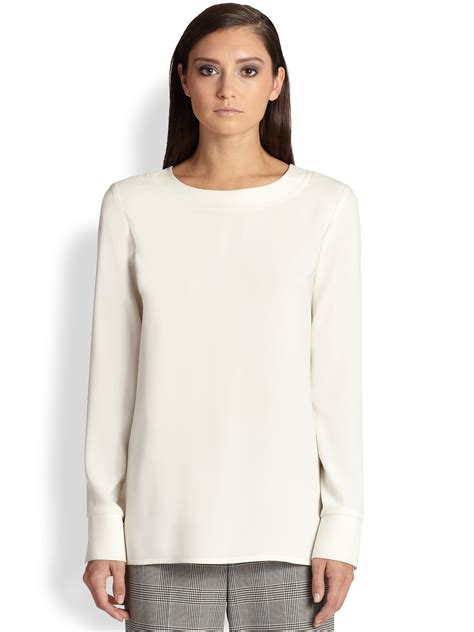 Blouse Crepe 1 lyst st sleeve crepe blouse in white