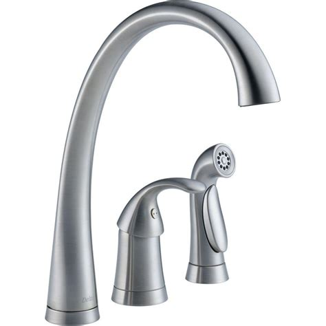 Delta Single Handle Kitchen Faucet With Spray Delta Foundations Single Handle Standard Kitchen Faucet With Side Sprayer In Stainless B4410lf