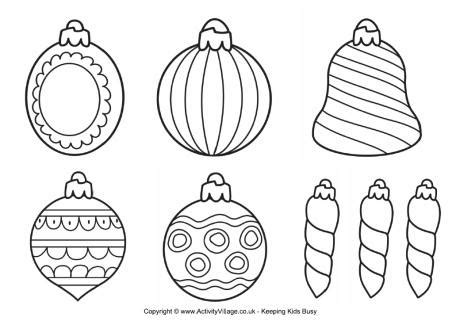 christmas decorations colouring page 3