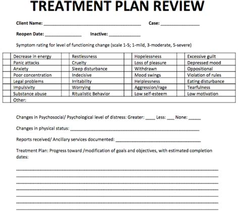psychotherapy forms templates treatment plan review free counseling note templates