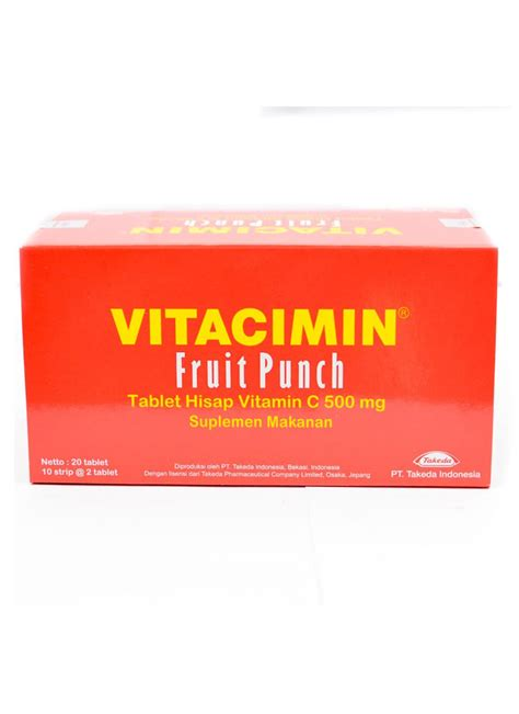 Kompor Vit vitacimin tablet hisap vitamin c fruit punch box 10x2 s