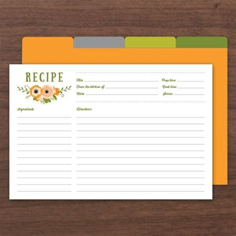 5 X 7 Free Recipe Card Template by Printable Recipe Cards Pdf Instant Templates