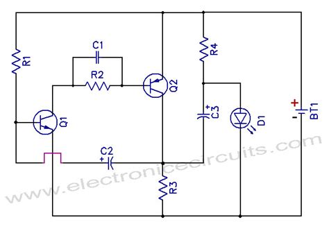 1 5v one battery led light flasher circuit diagram