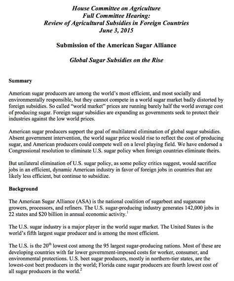 My Testimony Essay by Papers And Testimony Archives American Sugar Alliance