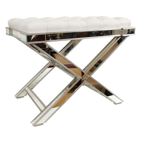 x bench hollywood mirrored quot x quot bench at 1stdibs