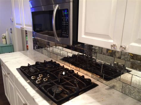 builder s glass antique mirror backsplash installed