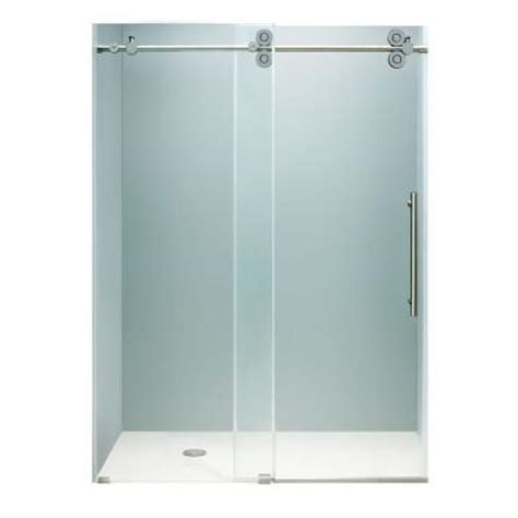 Homedepot Shower Doors by Vigo 60 In X 74 In Frameless Bypass Shower Door In Chrome With Clear Glass Vg6041chcl6074