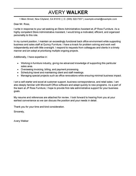 Cover Letter Exles For Assistant by Leading Professional Store Administrative Assistant Cover Letter Exles Resources
