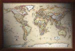 wall map framed maps wood and aluminum frames for wall maps
