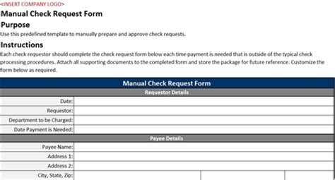 Manual Check Request Form Accounting Templates Check Request Template
