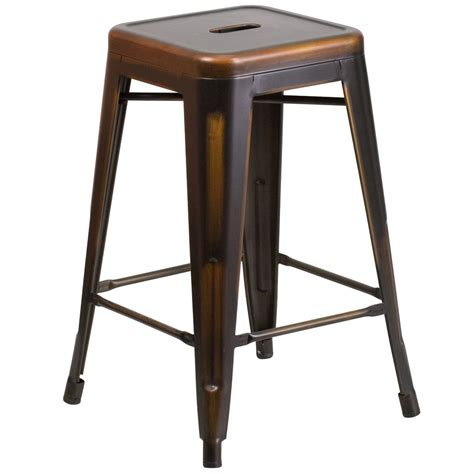 Stackable Counter Height Bar Stools by Distressed Copper Stackable Metal Counter Height Stool