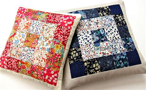 How To Patchwork - tutorial simple squares patchwork cushion berry