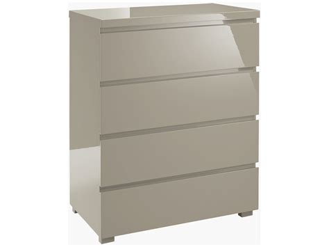 Grey Chest Of Drawers Bedroom by High Gloss Finish Bedroom Chest Of 4 Drawers Grey