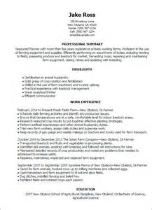 Farm Worker Sle Resume by Professional Farmer Templates To Showcase Your Talent Myperfectresume